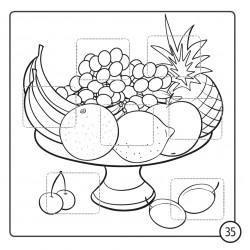 Kolorowanka z kredką. Warzywa i owoce